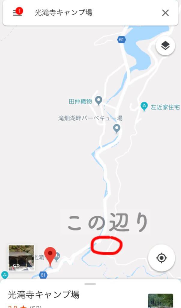 滝畑穴場の地図