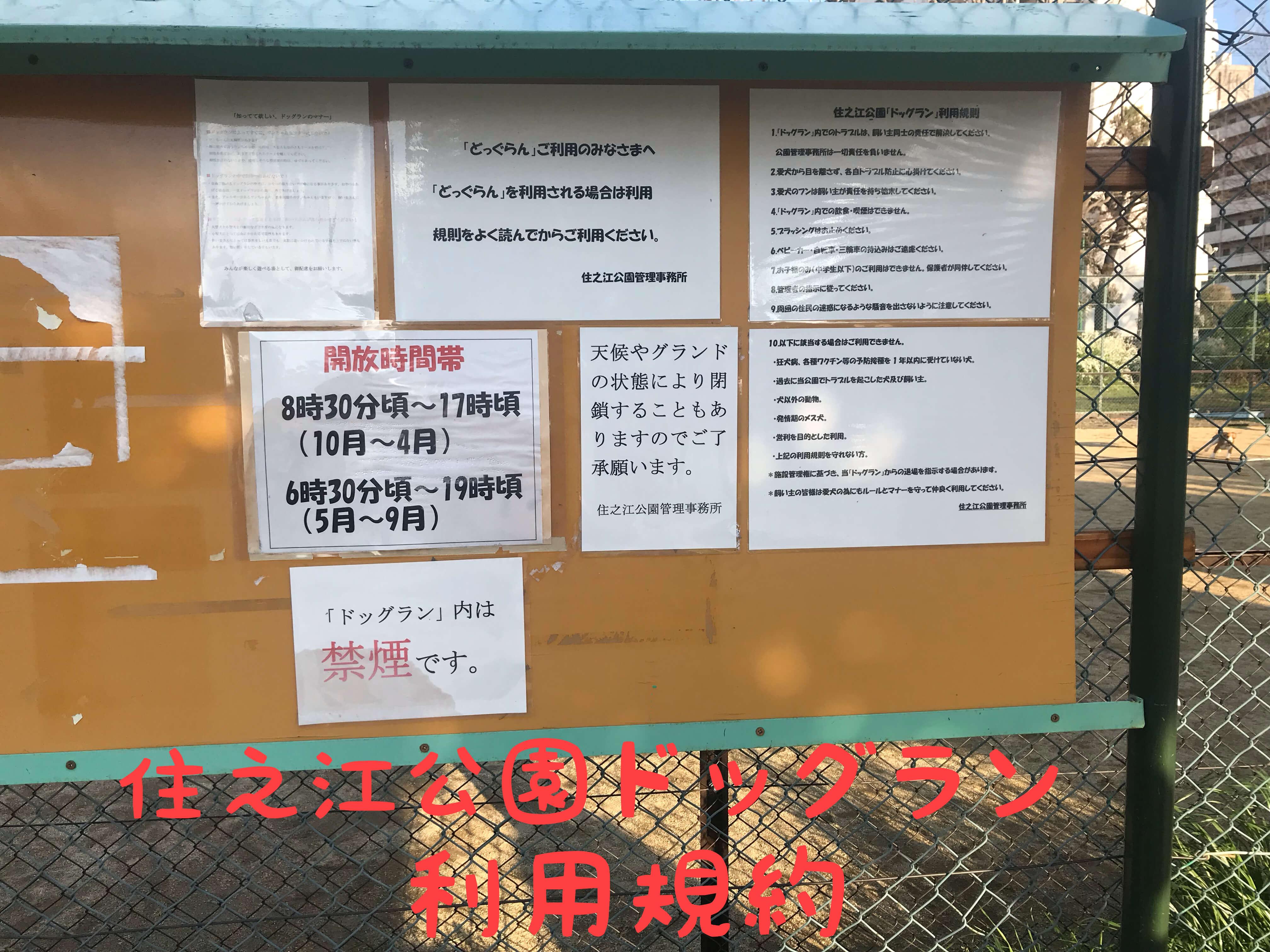 住之江公園ドッグラン 利用規約 掲示板