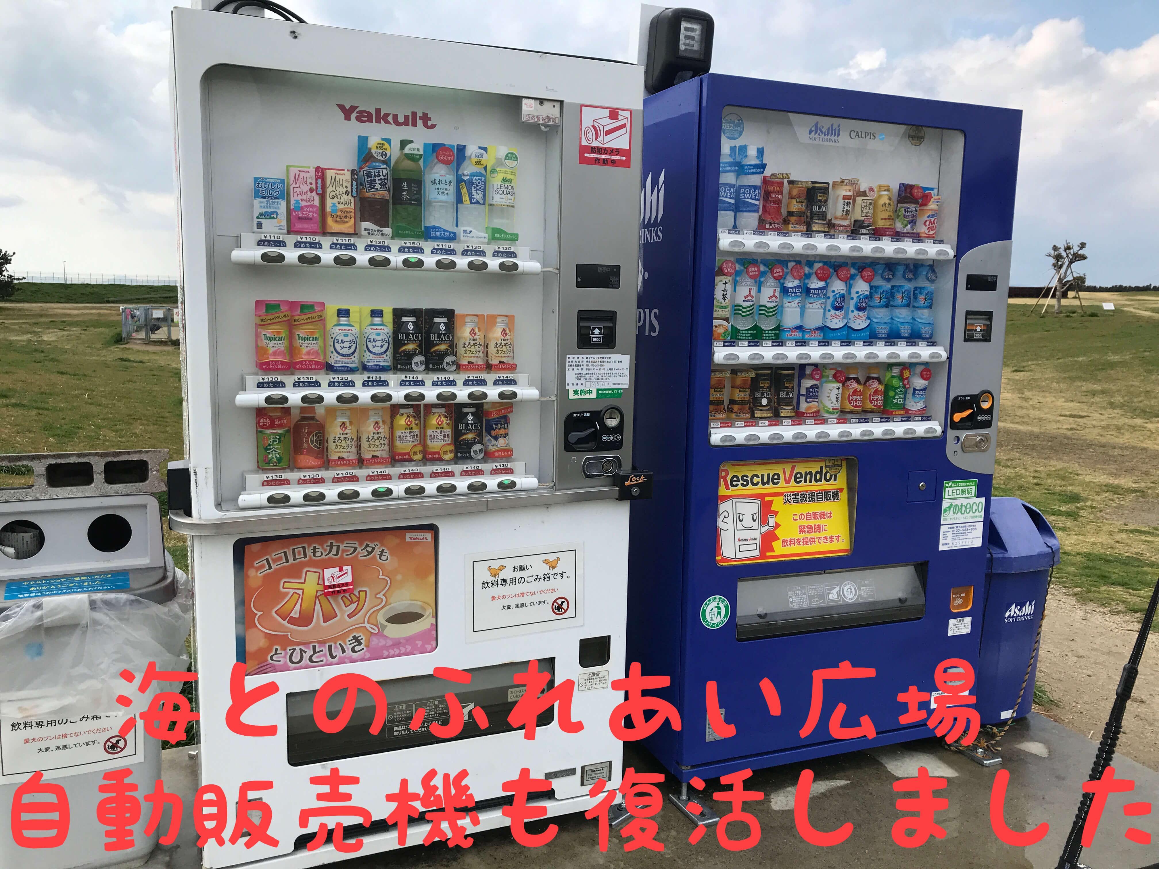 海とのふれあい広場 自動販売機も復活しました